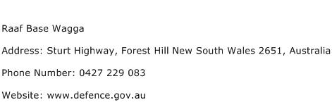 Raaf Base Wagga Address Contact Number
