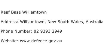 Raaf Base Williamtown Address Contact Number