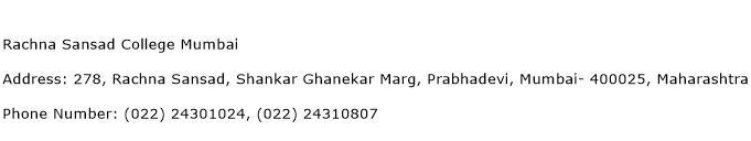 Rachna Sansad College Mumbai Address Contact Number
