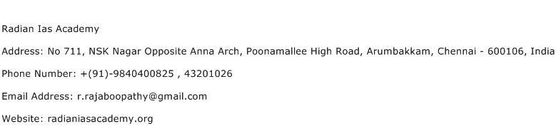 Radian Ias Academy Address Contact Number