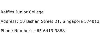 Raffles Junior College Address Contact Number
