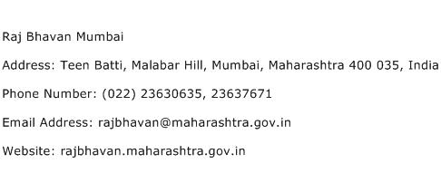Raj Bhavan Mumbai Address Contact Number