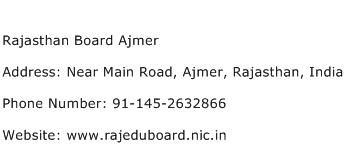 Rajasthan Board Ajmer Address Contact Number