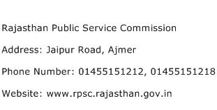 Rajasthan Public Service Commission Address Contact Number