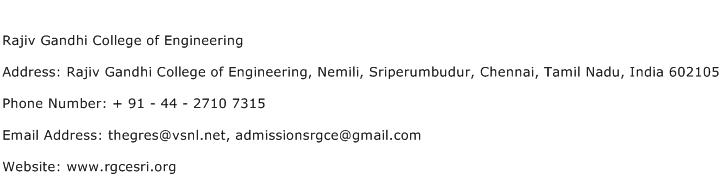 Rajiv Gandhi College of Engineering Address Contact Number
