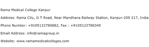 Rama Medical College Kanpur Address Contact Number