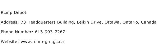 Rcmp Depot Address Contact Number