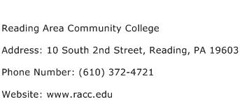 Reading Area Community College Address Contact Number