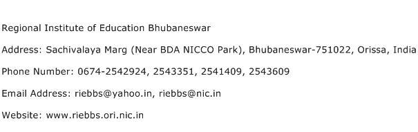 Regional Institute of Education Bhubaneswar Address Contact Number