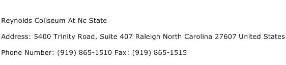 Reynolds Coliseum At Nc State Address Contact Number