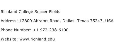 Richland College Soccer Fields Address Contact Number