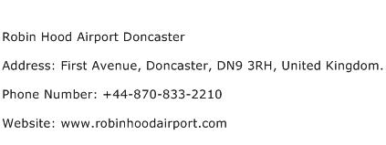 Robin Hood Airport Doncaster Address Contact Number