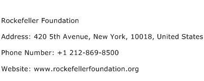 Rockefeller Foundation Address Contact Number