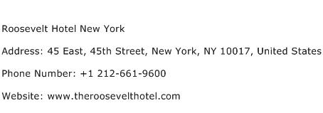 Roosevelt Hotel New York Address Contact Number