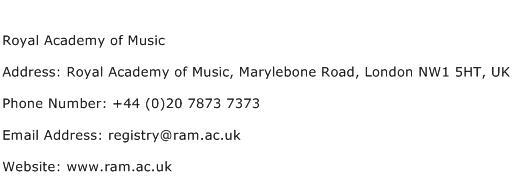 Royal Academy of Music Address Contact Number