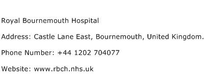 Royal Bournemouth Hospital Address Contact Number