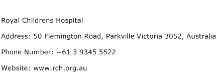 Royal Childrens Hospital Address Contact Number