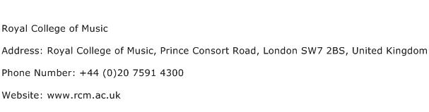 Royal College of Music Address Contact Number