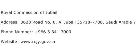 Royal Commission of Jubail Address Contact Number