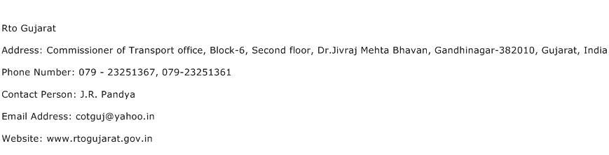 Rto Gujarat Address Contact Number