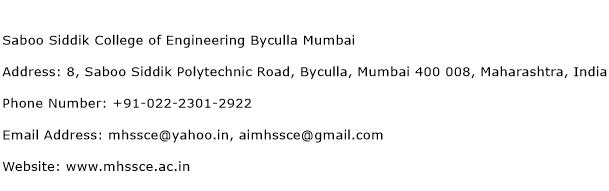 Saboo Siddik College of Engineering Byculla Mumbai Address Contact Number