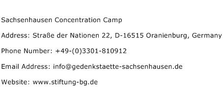 Sachsenhausen Concentration Camp Address Contact Number