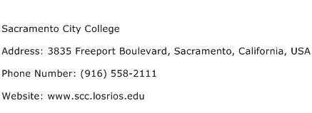 Sacramento City College Address Contact Number