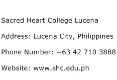 Sacred Heart College Lucena Address Contact Number
