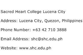 Sacred Heart College Lucena City Address Contact Number
