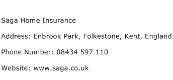 Saga Home Insurance Address Contact Number