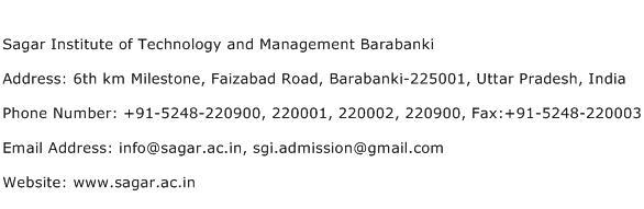 Sagar Institute of Technology and Management Barabanki Address Contact Number
