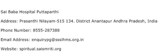 Sai Baba Hospital Puttaparthi Address Contact Number