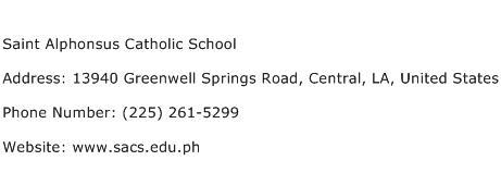Saint Alphonsus Catholic School Address Contact Number