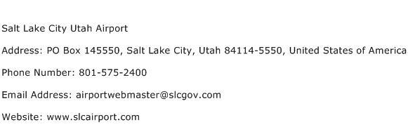 Salt Lake City Utah Airport Address Contact Number