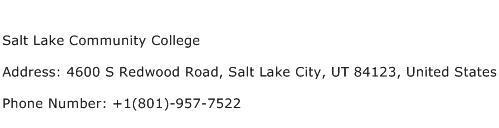 Salt Lake Community College Address Contact Number