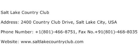 Salt Lake Country Club Address Contact Number