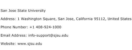 San Jose State University Address Contact Number