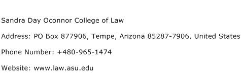 Sandra Day Oconnor College of Law Address Contact Number