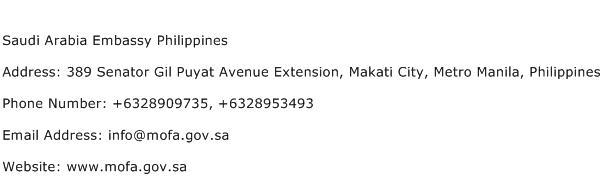Saudi Arabia Embassy Philippines Address Contact Number
