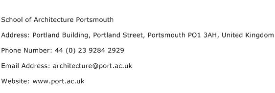School of Architecture Portsmouth Address Contact Number