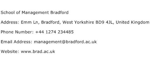 School of Management Bradford Address Contact Number