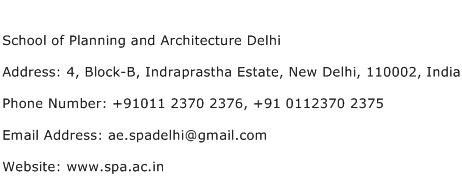 School of Planning and Architecture Delhi Address Contact Number