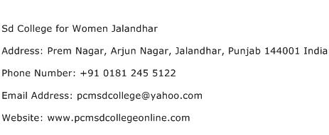 Sd College for Women Jalandhar Address Contact Number