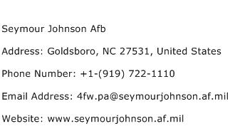 Seymour Johnson Afb Address Contact Number