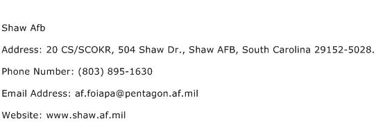 Shaw Afb Address Contact Number