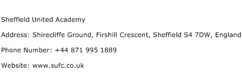 Sheffield United Academy Address Contact Number