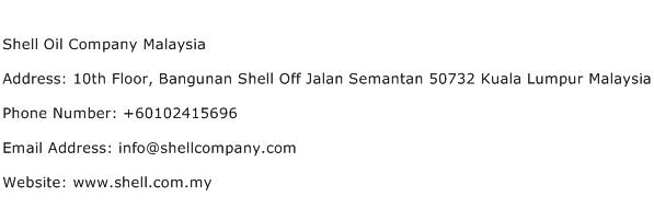 Shell Oil Company Malaysia Address Contact Number