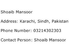 Shoaib Mansoor Address Contact Number