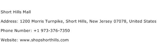 Short Hills Mall Address Contact Number