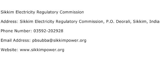 Sikkim Electricity Regulatory Commission Address Contact Number